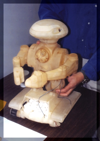 "A stereolithography ""grown"" model of the Rad Robot"
