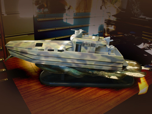 trade show Boat model display diorama model