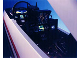 1/3rd scale F-14 cockpit showing new updated cockpit layout and heads up displays